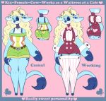 <3 4_fingers :3 ahoge alternate_costume anthro bangs barefoot big_ears blonde_hair blue_border blue_fur blue_nose bovine bow_tie cattle clothing dipstick_tail english_text female fur green_clothing hair heartthrob_cafe hi_res hooves horn irootie kix_(irootie) leggings legwear light_fur long_ears long_hair long_tail looking_at_viewer mammal model_sheet multicolored_fur multicolored_tail no_iris no_sclera overalls pink_background red_clothing shirt shorts simple_background smile solo spots spotted_fur text three_tone_fur waiter wide_hips