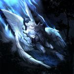 2018 5_fingers angiewolf anthro canine detailed_background digital_media_(artwork) duo feathered_wings feathers fur hair hybrid male mammal night nude outside sky star starry_sky tree white_feathers white_fur white_hair wings wolf