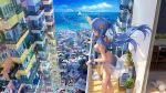 1girl absurdres ahoge apartment balcony bikini blue_hair bookshelf building cat character_request city cityscape cloud confetti controller copyright_request d-pad d-pad_hair_ornament day facing_away floating_hair game_console game_controller hair_ornament highres horizon long_hair ocean outdoors outstretched_arm paper_airplane plant playstation_4 potted_plant railing sarong scenery sky solo standing stellarism summer sunlight swimsuit twintails water watercraft white_bikini wind wristband