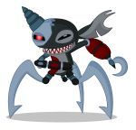2014 3_legs aliasing alien black_body black_eyes cyber_(stitch!) cybernetics cyborg digital_media_(artwork) disney evil_grin experiment_(species) hi_res hook lilo_and_stitch machine multi_leg multi_limb notched_ear pe-body red_eyes sharp_teeth simple_background smile solo stitch! teeth white_background
