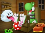 3_toes 4_fingers barefoot feet foot_fetish foot_focus foot_lick hindpaw licking mario_bros nintendo paws soles tickling toes tongue tongue_out video_games wuffeet yoshi