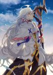 1boy ahoge bangs black_pants blue_sky closed_mouth evening eyebrows_visible_through_hair fate/grand_order fate_(series) floating_hair gradient_sky hair_between_eyes hair_ornament holding holding_staff hood hood_down hooded_robe lloule long_hair looking_away looking_up male_focus merlin_(fate/stay_night) pants purple_eyes robe shade sky smile solo staff standing tassel turtleneck very_long_hair white_hair white_robe wind