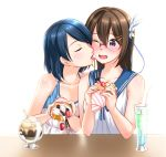 2girls black_hair blush brown_hair cream crepe eyes_closed face_licking food fruit glasses hair_ornament highres jakelian licking long_hair multiple_girls original parfait pocky purple_eyes school_uniform serafuku short_hair strawberry tongue tongue_out yuri