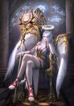 1girl absurdres blue_hair breasts cleavage commentary halo heart highres inside large_breasts legs_crossed long_hair looking_at_viewer multicolored multicolored_clothes original peachpa red_eyes red_footwear sitting solo stained_glass throne wings