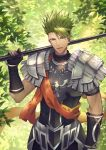 1boy achilles_(fate) armor darkavey fate/apocrypha fate/grand_order fate_(series) gloves green_hair highres holding holding_spear holding_weapon looking_at_viewer male_focus polearm scarf signature smile solo spear spiked_hair weapon yellow_eyes