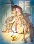1boy 1girl albyeee back-to-back bangs barefoot black_hair blue_eyes candle candlestand collarbone commentary couple darling_in_the_franxx eyes_closed fingernails fringe hand_holding hand_on_own_knee hetero highres hiro_(darling_in_the_franxx) horns leg_hug long_hair looking_back nightgown oni_horns pajamas pink_hair red_horns short_hair sitting sleeveless white_pajamas zero_two_(darling_in_the_franxx)