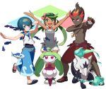 1boy 2girls alolan_marowak black_skin blue_eyes blue_hair brown_hair dark_skin dress gen_7_pokemon green_eyes green_hair kaki_(pokemon) mao_(pokemon) marowak multiple_girls overalls pokemon pokemon_(creature) pokemon_(game) pokemon_sm red_hair sailor_dress shorts sleeveless steenee suiren_(pokemon) tagme tonami_kanji wishiwashi