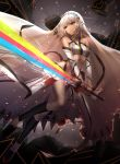 1girl altera_(fate) bangs bare_shoulders black_footwear black_legwear blurry blurry_background breasts commentary_request crop_top dark_skin depth_of_field detached_sleeves eyebrows_visible_through_hair fate/extella fate/extra fate_(series) hair_between_eyes holding holding_sword holding_weapon kneehighs long_sleeves mallizmora photon_ray red_eyes shoes short_hair silver_hair small_breasts solo sword torn_clothes torn_veil veil weapon