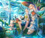 1boy 2girls :3 animal_ears blonde_hair blue_eyes blush book bookshelf breasts closed_mouth collarbone dice doughnut eraser eyebrows_visible_through_hair fish food fox_ears fox_tail globe kettle kutsunohito large_breasts life_ring long_hair looking_at_viewer multiple_girls mushroom oriental_umbrella original pipes red_eyes sandals scenery short_hair sitting skirt smile speaker squatting stuffed_animal stuffed_toy tail teddy_bear umbrella v white_hair white_skirt
