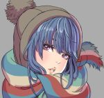 1girl bangs beanie blue_hair brown_hat fringe grey_background hair_bun hat head_tilt highres lips looking_at_viewer parted_lips portrait purple_eyes scarf shima_rin simple_background solo striped striped_scarf yamashita_shun'ya yurucamp