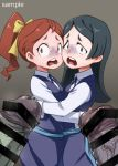 2girls 4shi bar_censor barbara_parker black_hair bow brown_eyes brown_hair censored frown green_eyes hair_bow hanna_england hetero hug imminent_rape large_penis little_witch_academia long_hair luna_nova_school_uniform multiple_boys multiple_girls multiple_penises penis penis_awe ponytail precum sample scared turn_pale yellow_bow