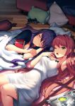 2girls arm_behind_head armpits blanket book brown_hair commentary controller cup doki_doki_literature_club english_commentary eyebrows_visible_through_hair game_controller green_eyes hair_down hair_ornament hairclip long_hair looking_at_viewer lying monika_(doki_doki_literature_club) multiple_girls official_art on_back on_floor on_side one_eye_closed open_mouth pillow purple_hair satchely sleeping teacup tray under_covers very_long_hair window_shade wooden_floor yawning yuri_(doki_doki_literature_club)
