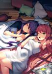 2girls arm_behind_head armpits blanket book brown_hair controller cup doki_doki_literature_club erection_under_clothes eyebrows_visible_through_hair futanari game_controller green_eyes hair_down hair_ornament hairclip long_hair looking_at_viewer lying monika_(doki_doki_literature_club) multiple_girls official_art on_back on_floor on_side one_eye_closed open_mouth pillow purple_hair satchely sleeping teacup third-party_edit tray under_covers very_long_hair window_shade wooden_floor yawning yuri_(doki_doki_literature_club)
