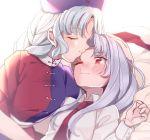 2girls blue_hat blush commentary_request eyes_closed forehead_kiss hand_on_another's_head hat kiss long_hair long_sleeves lying multiple_girls necktie on_back purple_hair red_cross red_neckwear reisen_udongein_inaba satomachi short_sleeves smile touhou white_hair yagokoro_eirin yuri