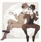 2boys blonde_hair blue_hair boots brown_footwear candy_bar chocolate chocolate_bar cravat cross-laced_footwear cup dio_brando doily finger_licking formal hat jojo_no_kimyou_na_bouken jonathan_joestar kochi_(tinga) legs_crossed licking looking_at_another male_focus multiple_boys phantom_blood sitting suit teacup top_hat
