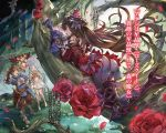 1boy 2girls ahoge arm_up armored_boots ass barefoot blue_eyes blue_hair blue_sleeves blue_sweater boots bridal_gauntlets brown_eyes brown_gloves brown_hair brown_pants character_name day detached_sleeves dress floating_hair flower forest full_body gloves gran_(granblue_fantasy) granblue_fantasy hair_between_eyes headpiece high_heel_boots high_heels highres hood hood_down hooded_sweater long_hair long_sleeves looking_up lyria_(granblue_fantasy) minaba_hideo multiple_girls nature novel_illustration official_art open_mouth outdoors pants petals pleated_dress purple_pants red_flower red_rose red_shirt rose shirt short_dress sleeveless sleeveless_dress smile sweater vee_(granblue_fantasy) very_long_hair white_dress