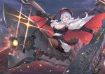 1girl azur_lane belt breasts cape chains cleavage flight_deck fur_trim gloves glowing glowing_eyes graf_zeppelin_(azur_lane) hat large_breasts long_hair miniskirt pak_ce pale_skin pantyhose pleated_skirt red_eyes riding silver_hair sitting skirt sky solo uniform
