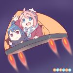 2girls :d ahoge beanie blue_eyes blue_hair copyright_name flying hair_bun hat hetareeji kagamihara_nadeshiko multiple_girls open_mouth pink_hair scarf shima_rin smile tent waving yurucamp