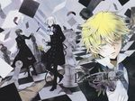 4boys black_hair blonde_hair board_game chess flower formal gilbert_nightray gloves hair_over_one_eye highres male_focus mochizuki_jun multiple_boys official_art oz_vessalius pandora_hearts ponytail red_eyes short_hair silver_hair trench_coat trenchcoat vincent_nightray xerxes_break yellow_eyes