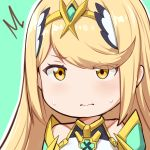 /\/\/\ 1girl 3: absurdres bangs blonde_hair blush chibi circlet closed_mouth embarrassed eyes_visible_through_hair green_background hews_hack highres hikari_(xenoblade_2) looking_at_viewer outline paid_reward patreon_reward simple_background solo sweatdrop swept_bangs upper_body white_outline xenoblade_(series) xenoblade_2 yellow_eyes