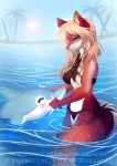 2018 5_fingers adorableinall ambiguous_gender anthro bikini blonde_hair breasts canine cetacean clothing detailed_background digital_media_(artwork) dolphin duo eyelashes female hair mammal marine midriff nitricacid red_eyes red_nose smile swimsuit