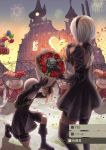 1boy 1girl android black_dress firework flower nier nier_(series) nier_automata short_hair white_hair yorha_no._2_type_b yorha_no._9_type_s