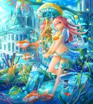 1girl breasts cleavage collarbone dolphin eyebrows_visible_through_hair fish jellyfish kutsunohito long_hair looking_at_viewer medium_breasts navel original outdoors pink_eyes pink_hair scenery solo suitcase water whale