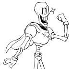 2015 animated_skeleton armor black_and_white bone hi_res humanoid male monochrome not_furry open_mouth papyrus_(undertale) skeleton smile solo tinybeasts undead undertale video_games