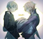 2boys :d belt black_choker black_gloves black_jacket black_pants blonde_hair blue_eyes blue_hair bright_pupils character_request choker closed_mouth copyright_request emil_(nier) from_side gloves jacket long_sleeves looking_at_viewer looking_to_the_side multiple_boys nier_(series) nier_automata open_mouth pants parted_lips profile purple_jacket red_eyes shirt smile white_shirt yamakawa yorha_no._9_type_s