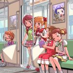 6+girls aisaki_emiru backpack bag bike_shorts blush bottle bow bowtie brown_eyes brown_hair commentary dated dokidoki!_precure dress forehead frilled_skirt frilled_sleeves frills glasses green_shirt hair_bow handbag highres holding holding_bottle hugtto!_precure isedaichi_ken kenzaki_makoto long_hair looking_at_another madoka_aguri miniskirt morimoto_eru multiple_girls nono_kotori orange_hair overalls pink_skirt poster_(object) precure purple_hair randoseru reading red-framed_eyewear red_bow red_dress red_eyes red_hair red_neckwear seat shirabe_ako shirt shoe_bow shoes short_hair short_sleeves signature sitting skirt sleeping sleeping_on_person sleeveless suite_precure tablet_pc thick_eyebrows thighhighs train_interior twintails white_legwear white_shirt yellow_skirt zettai_ryouiki