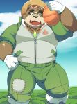 anthro ayame42612 bear brown_fur bulge clothed clothing eyewear food fruit fur glasses gloves hat male mammal overweight overweight_male pants pumpkin solo straw_hat tokyo_afterschool_summoners volos