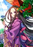 black_hair blue_sky blush brown_hair cowboy_shot day floral_print flower holding holding_flower japanese_clothes kimono lipstick long_hair m_(aaaem) makeup original outdoors parasol purple_eyes purple_kimono red_umbrella ribbon sky standing sunlight umbrella very_long_hair