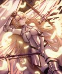 1girl absurdly_long_hair arm_up armor armored_boots armored_dress bangs banner black_legwear blonde_hair blunt_bangs boots breasts breasts_apart brown_eyes cecil86 dress eyebrows_visible_through_hair fate/apocrypha fate_(series) feathers from_above fur_trim gauntlets highres holding holding_weapon jeanne_d'arc_(fate) jeanne_d'arc_(fate)_(all) large_breasts long_hair looking_at_viewer lying on_back open_mouth smile solo sword thigh_boots thighhighs very_long_hair weapon white_dress