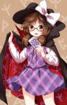 1girl :d black_hat bow brown_eyes brown_hair cape card cowboy_shot glasses hat hat_bow highres long_sleeves looking_at_viewer low_twintails open_mouth plaid plaid_shirt plaid_skirt red-framed_eyewear ruu_(tksymkw) semi-rimless_eyewear shirt skirt smile solo touhou twintails under-rim_eyewear usami_sumireko white_bow