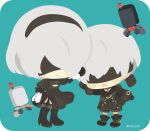 1boy 1girl :d belt black_dress black_footwear black_hairband blindfold boots chibi cleavage_cutout dress grey_legwear hairband high_heel_boots high_heels juliet_sleeves long_sleeves mole mole_under_eye nier_(series) nier_automata open_mouth pod_(nier_automata) puffy_sleeves rizu_(rizunm) short_hair side_slit smile thigh_boots thighhighs twitter_username white_hair yorha_no._2_type_b yorha_no._9_type_s zettai_ryouiki