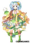 1girl aqua_eyes arm_warmers blue_hair blush boots bow_(weapon) breasts brown_legwear cleavage cleavage_cutout dress expressionless flower flower_knight_girl frills full_body green_dress green_footwear green_hairband hair_flower hair_ornament holding holding_bow_(weapon) holding_weapon knee_boots kneehighs looking_at_viewer object_namesake official_art short_hair shouni_(sato3) simple_background small_breasts solo standing suzuna_(flower_knight_girl) twintails weapon white_background