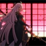 1girl ahoge arm_guards black_bow bow breasts cleavage_cutout commentary_request dark_skin fate/grand_order fate_(series) hair_bow highres holding holding_weapon katana koha-ace long_hair migiha okita_souji_(fate) okita_souji_alter_(fate) petals silver_hair solo sword tagme thighhighs very_long_hair weapon window yellow_eyes