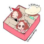 3girls :d blush brown_eyes brown_hair chibi commentary_request do_m_kaeru eyes_closed multiple_girls multiple_persona obentou okumura_haru open_mouth persona persona_5 pink_sweater ribbed_sweater short_hair sleeping smile sweater translation_request twitter_username