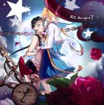 2girls artist_name bishoujo_senshi_sailor_moon black_hair blonde_hair blue_bow blue_eyes blue_sailor_collar blue_skirt blurry bow catelyne chains choker circlet cloud depth_of_field flower from_side full_moon hand_holding highres long_hair low_ponytail moon multiple_girls no_gloves petals pleated_skirt pocket_watch red_flower red_rose rose rose_petals sailor_collar sailor_star_fighter school_uniform seiya_kou serafuku signature skirt star tsukino_usagi twintails very_long_hair watch