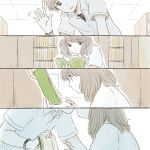 1boy 1girl 4koma backlighting bangs black_hair blunt_bangs book bookshelf closed_mouth collared_shirt comic couple dot_nose expressionless eyebrows_visible_through_hair from_below from_side hand_up hands_up hetero indoors itunohika kiss library looking_down medium_hair motion_lines open_book open_hand original outline parted_lips pov profile reading school_uniform shirt short_sleeves silent_comic tareme upper_body waving wavy_hair white_shirt wing_collar wristband