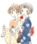 2girls :d bag bagged_fish bangs black_hair blue_kimono blunt_bangs blush_stickers bow braid brown_eyes brown_hair candy_apple coin_purse cowboy_shot dot_nose expressionless fan festival fish food french_braid from_side hair_bun handbag hands_up holding holding_fan holding_food itunohika japanese_clothes kimono long_sleeves looking_at_viewer multiple_girls obi open_mouth original paper_fan parted_lips red_bow sash sidelocks simple_background smile summer_festival tareme uchiwa white_background wide_sleeves yellow_kimono yukata