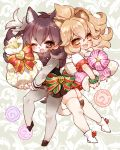 2girls :d animal_ears ankle_boots antlers bag bangs big_hair black_vest blonde_hair blush boot_bow boots bow brown_eyes brown_footwear brown_hair brown_skirt chino_machiko fang fur_collar holding kemono_friends lion_(kemono_friends) lion_ears lion_tail long_sleeves looking_at_viewer moose_(kemono_friends) moose_ears moose_tail multiple_girls one_eye_closed open_mouth pantyhose pleated_skirt red_bow red_skirt ribbon shirt shoes short_hair skirt slit_pupils smile tail thighhighs vest white_legwear white_shirt wristband yellow_eyes