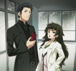 1boy 1girl bangs belt black_hair blunt_bangs brown_eyes cellphone collared_shirt facial_hair flat_chest gears green_eyes hands_in_pockets hiyajou_maho jacket labcoat long_hair looking_at_viewer messy_hair nyoro_(nyoronyoro000) official_style okabe_rintarou open_mouth pants phone shirt short_hair smartphone steins;gate steins;gate_0 stubble thick_eyebrows upper_body vest window