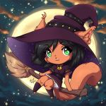 2017 :3 annetpeas anthro black_hair broom brown_fur chibi clothed clothing female fur green_eyes hair halloween holidays looking_at_viewer magic_user mammal moon night rodent sciurid sky smile star witch