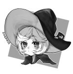 1girl berserk blush character_name closed_mouth commentary commission english_commentary eyebrows_visible_through_hair grey_background greyscale hat looking_at_viewer monochrome osiimi outline portrait schierke short_hair simple_background smile solo white_outline wing_collar witch_hat