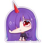 1girl :i barefoot between_legs black_shirt chibi commentary english_commentary hair_over_one_eye hand_between_legs horn long_hair multiple_tails one_eye_covered original osiimi outline purple_shorts red_eyes shirt short_sleeves shorts signature sitting solo tail transparent_background two_tails very_long_hair white_outline