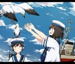 2girls :d animal animal_on_head any_(lucky_denver_mint) bird bird_on_head black_hair blue_sailor_collar blue_sky brown_eyes daitou_(kantai_collection) dress hat hiburi_(kantai_collection) kantai_collection looking_at_another multiple_girls on_head open_mouth outdoors outstretched_arms ponytail sailor_collar sailor_dress sailor_hat seagull short_hair short_ponytail short_sleeves sky smile white_hat