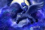 2017 blue_feathers cosmic_hair cutie_mark equine eyelashes eyeshadow feathered_wings feathers female feral flying friendship_is_magic hair hi_res hooves horn long_hair looking_at_viewer makeup mammal mascara moon my_little_pony night nude oofycolorful outside portrait princess_luna_(mlp) signature sky solo spread_wings star starry_sky teal_eyes winged_unicorn wings