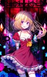 1girl :d adapted_costume arms_behind_back ascot blonde_hair blue_flower blue_rose blush breasts brooch cleavage collarbone commentary_request cowboy_shot crystal dress elbow_gloves eyebrows_visible_through_hair flandre_scarlet flower gloves hair_between_eyes hair_ribbon highres jewelry koto_seori laevatein looking_at_viewer medium_breasts moon no_hat no_headwear one_side_up open_mouth petticoat puffy_short_sleeves puffy_sleeves red_dress red_eyes red_moon red_ribbon ribbon rose short_dress short_hair short_sleeves sky smile solo standing star_(sky) starry_sky thighhighs touhou white_gloves white_legwear wings yellow_neckwear zettai_ryouiki
