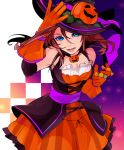 1girl :d alternate_costume bangs bare_shoulders black_hat blue_eyes breasts candy dress fangs food gloves hair_between_eyes halloween hand_on_headwear hat hat_ornament highres jack-o'-lantern kairi_(kingdom_hearts) kingdom_hearts kingdom_hearts_ii leaf lips looking_at_viewer medium_breasts medium_hair motu0505 open_mouth orange_dress orange_gloves pink_lips pumpkin red_hair smile solo teeth witch_hat